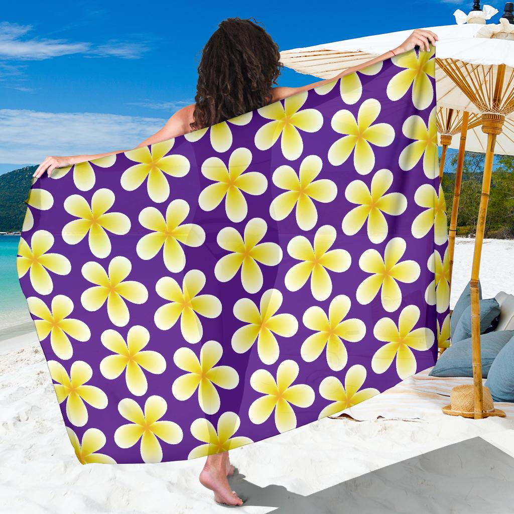 Yellow Plumeria Pattern Print Design PM05 Sarong Pareo Wrap-JORJUNE.COM