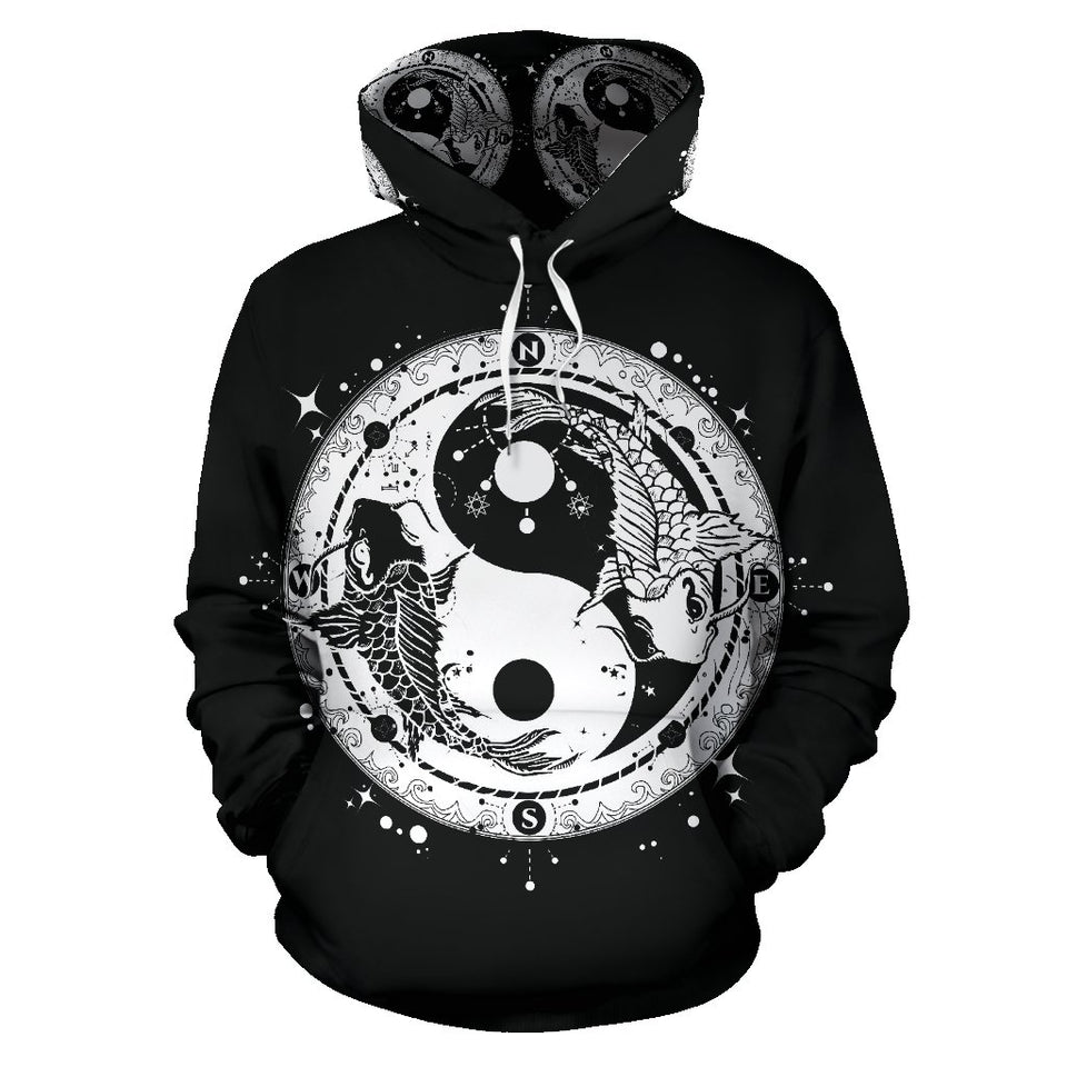 Yin Yang Koi Fish All Over Print Hoodie