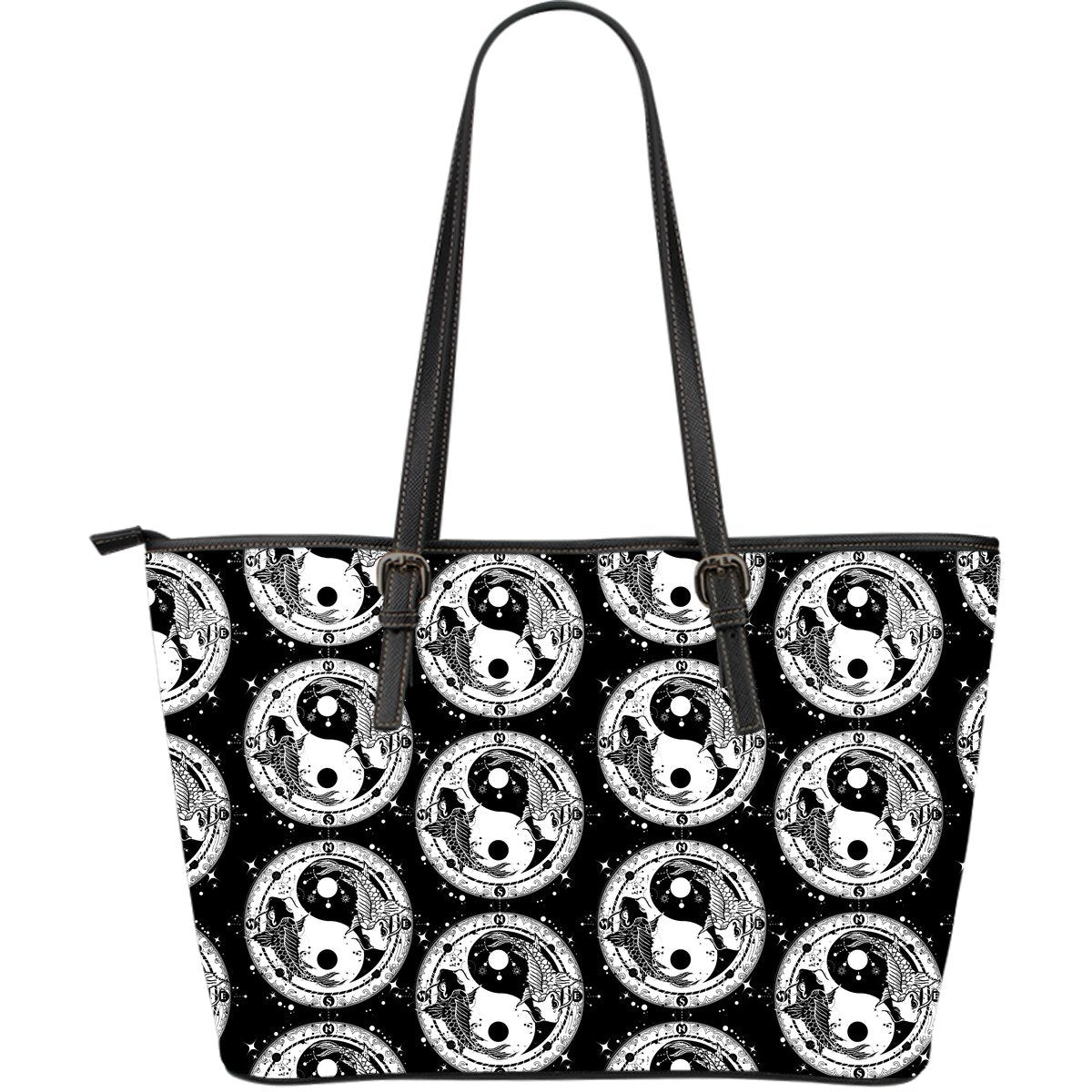 Yin Yang Koi Fish Large Leather Tote Bag