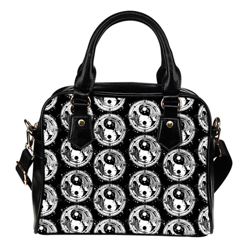 Yin Yang Koi Fish Leather Shoulder Handbag