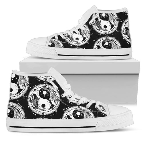Yin Yang Koi Fish Men High Top Shoes