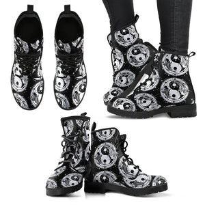 Yin Yang Koi Fish Women Leather Boots