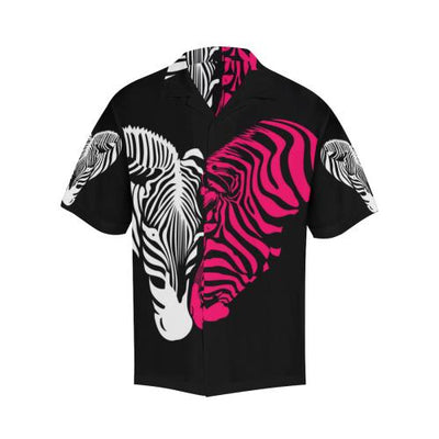 zebra Black Pink Heat Shap Men Hawaiian Shirt