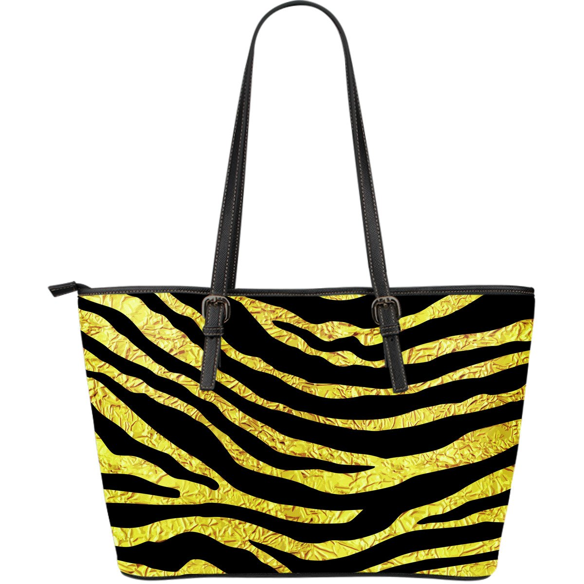 zebra Gold Large Leather Tote Bag