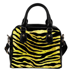 zebra Gold Leather Shoulder Handbag