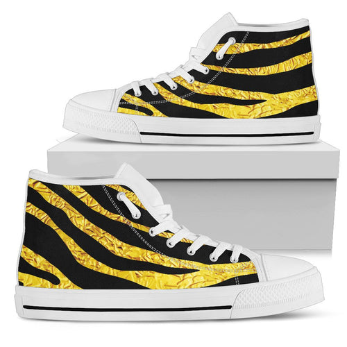 zebra Gold Men High Top Shoes