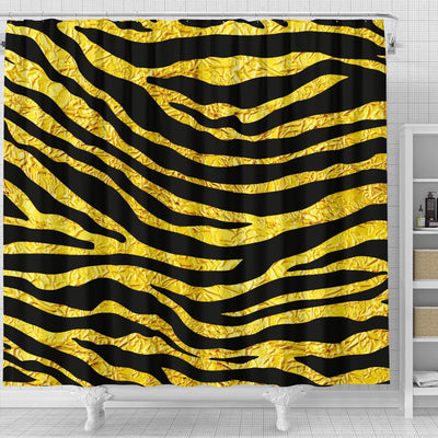 Zebra Gold Shower Curtain