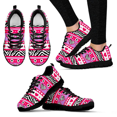 zebra Heart Pink Pattern Women Sneakers