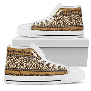 Zebra Leopard Skin Safari Men High Top Canvas Shoes
