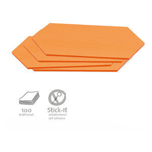 100 Stick-It Cards, rhombus, orange