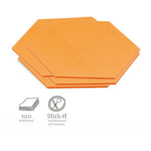 100 Stick-It Cards, hexagonal, orange