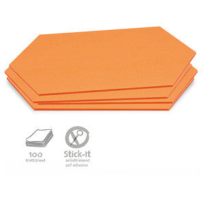 100 Stick-It Cards, large rhombus, orange