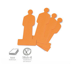 100 Stick-It Cards, people, orange