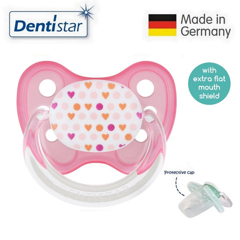 OceanoKidz.com - Dentistar Tooth-friendly Flat Pacifier (0-6 months) size 1 with protective cap - Heart Points