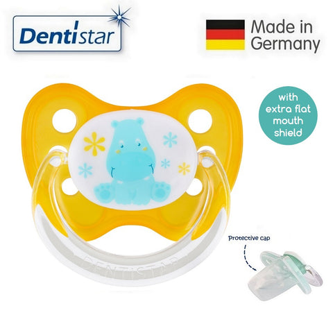 OceanoKidz.com - Dentistar Tooth-friendly Flat Pacifier (0-6 months) size 1 with protective cap - Hippo
