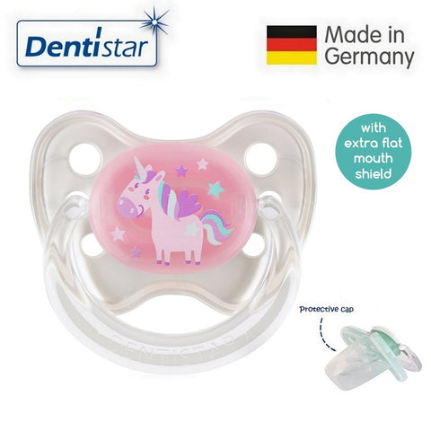 OceanoKidz.com - Dentistar Tooth-friendly Flat Pacifier (0-6 months) size 1 with protective cap - Unicorn