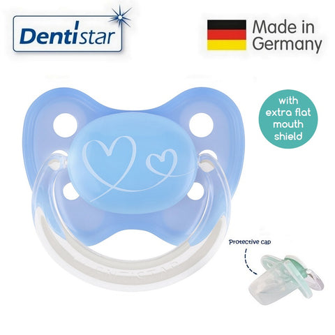 OceanoKidz.com - Dentistar Tooth-friendly Flat Pacifier (0-6 months) size 1 with protective cap - Blue Hearts