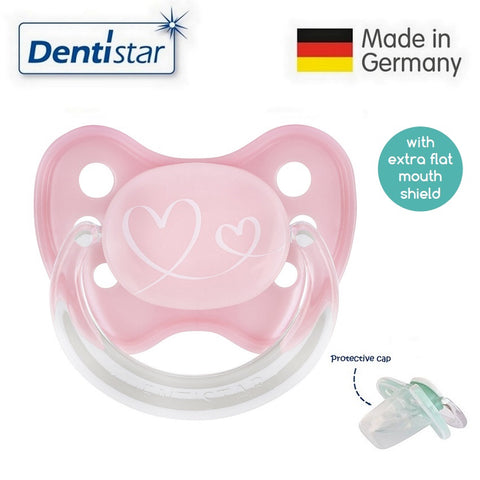 OceanoKidz.com - Dentistar Tooth-friendly Flat Pacifier (0-6 months) size 1 with protective cap - Pink Hearts
