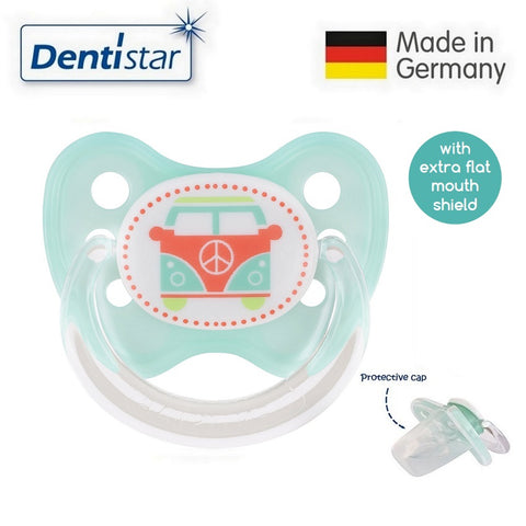 OceanoKidz.com - Dentistar Tooth-friendly Flat Pacifier (6-14 months) size 2 with protective cap - Bus