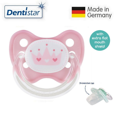 OceanoKidz.com - Dentistar Tooth-friendly Flat Pacifier (6-14 months) size 2 with protective cap - Pink Crown