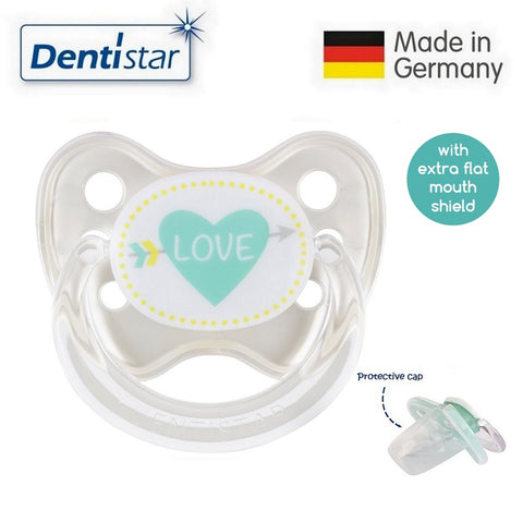 OceanoKidz.com - Dentistar Tooth-friendly Flat Pacifier (6-14 months) size 2 with protective cap - Love