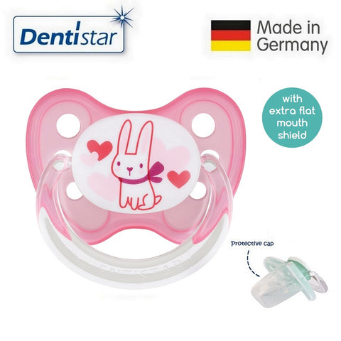 OceanoKidz.com - Dentistar Tooth-friendly Flat Pacifier (6-14 months) size 2 with protective cap - Rabbit