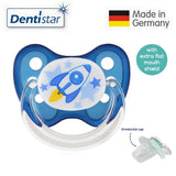 OceanoKidz.com - Dentistar Tooth-friendly Flat Pacifier (6-14 months) size 2 with protective cap - Rocket
