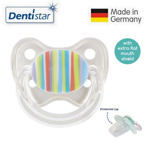 OceanoKidz.com - Dentistar Tooth-friendly Flat Pacifier (6-14 months) size 2 with protective cap - Stripes