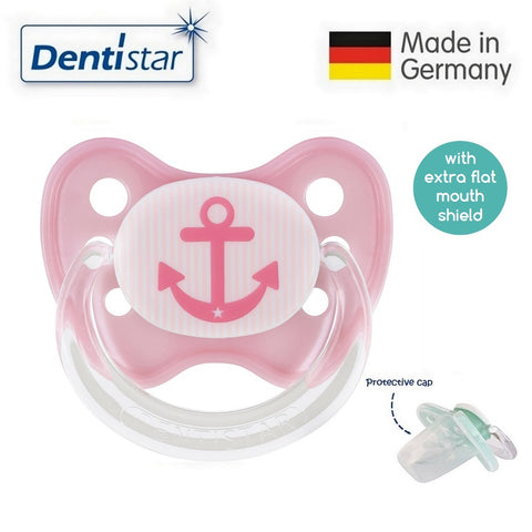 OceanoKidz.com - Dentistar Tooth-friendly Flat Pacifier (14+ months) size 3 with protective cap - Pink Anchor