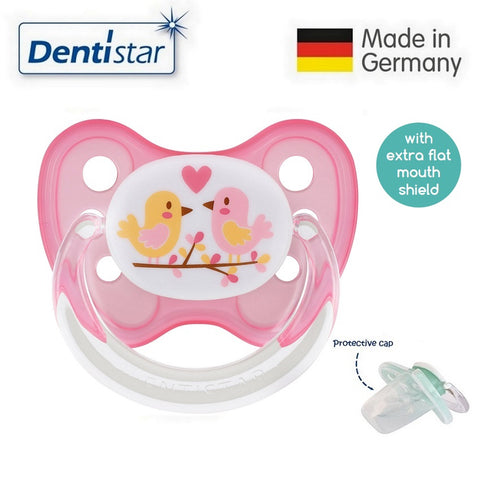 OceanoKidz.com - Dentistar Tooth-friendly Flat Pacifier (14+ months) size 3 with protective cap - Birds