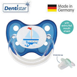 OceanoKidz.com - Dentistar Tooth-friendly Flat Pacifier (14+ months) size 3 with protective cap - Blue Boat