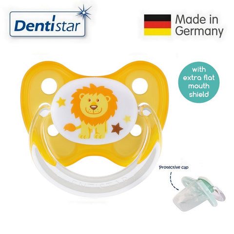 OceanoKidz.com - Dentistar Tooth-friendly Flat Pacifier (14+ months) size 3 with protective cap - Lion