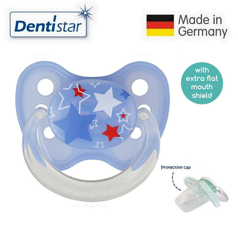 OceanoKidz.com - Dentistar Tooth-friendly Flat Pacifier (14+ months) size 3 with protective cap - Stars