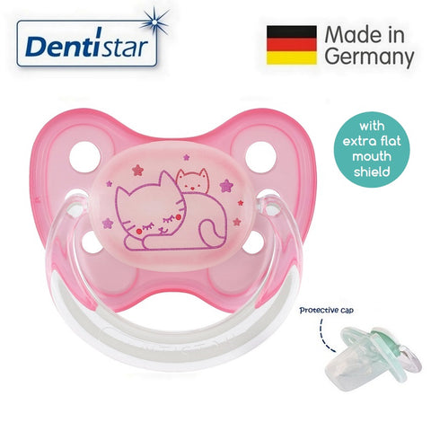 OceanoKidz.com - Dentistar Tooth-friendly Flat Night Pacifier (0-6 months) size 1 with protective cap - Sleepy Cats