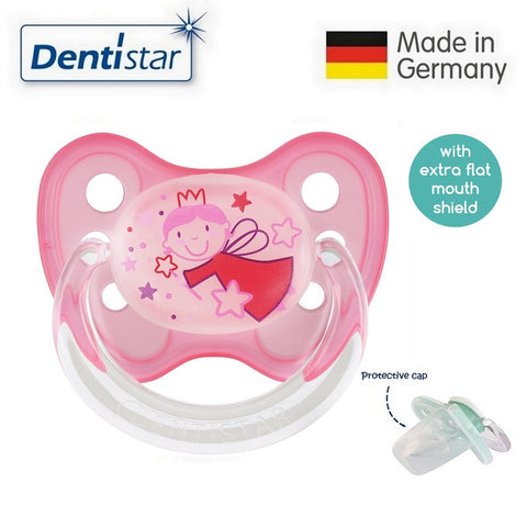 OceanoKidz.com - Dentistar Tooth-friendly Flat Night Pacifier (6-14 months) size 2 with protective cap - Fairy