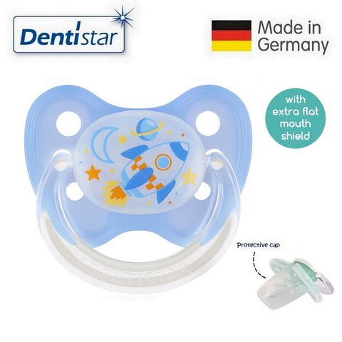 OceanoKidz.com - Dentistar Tooth-friendly Flat Night Pacifier (6-14 months) size 2 with protective cap - Rocket