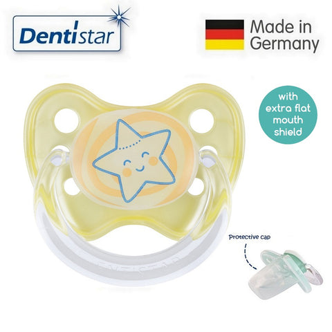 OceanoKidz.com - Dentistar Tooth-friendly Flat Night Pacifier (6-14 months) size 2 with protective cap - Star