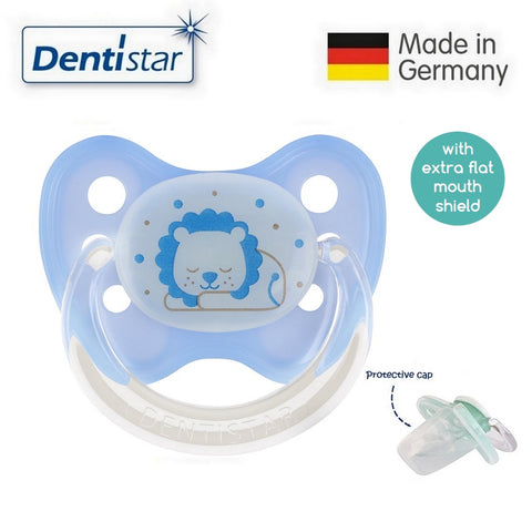 OceanoKidz.com - Dentistar Tooth-friendly Flat Night Pacifier (14+ months) size 3 with protective cap - Sleepy Lion