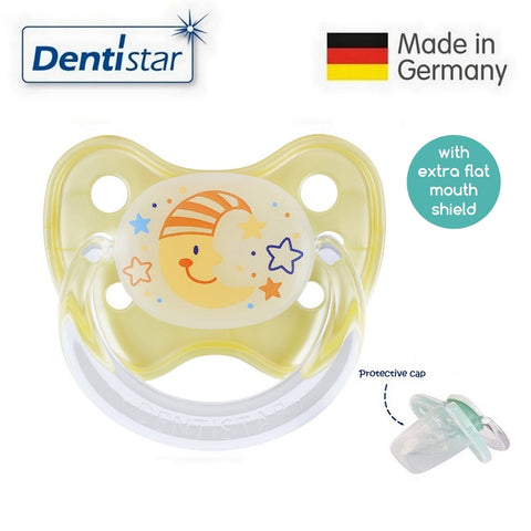 OceanoKidz.com - Dentistar Tooth-friendly Flat Night Pacifier (14+ months) size 3 with protective cap - Moon