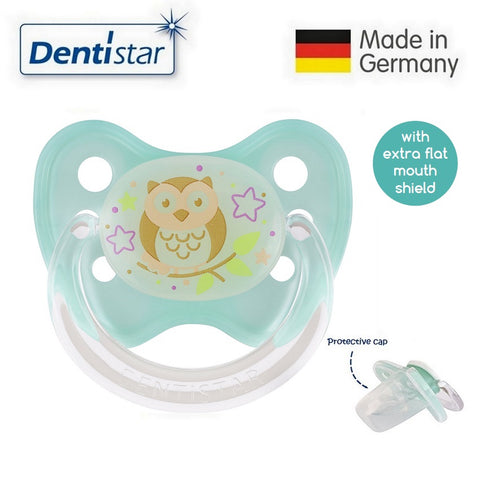 OceanoKidz.com - Dentistar Tooth-friendly Flat Night Pacifier (14+ months) size 3 with protective cap - Owl