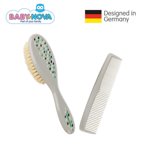 Baby Nova Brush & Comb Set with Natural Bristles - Grey