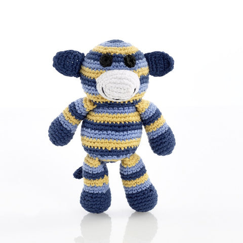 OceanoKidz.com - Pebble Rattles - Monkey - Blue