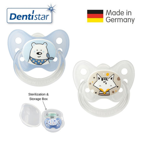Dentistar Tooth-friendly Pacifier Size 1 (set of 2) with Sterilization Box - Bear & Fox