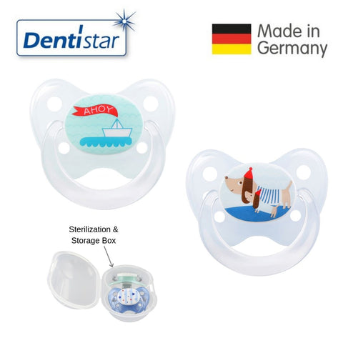 OceanoKidz.com - Dentistar Tooth-friendly Pacifier Size 1 (set of 2) with Sterilization Box - Boat & Dog