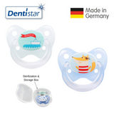 OceanoKidz.com - Dentistar Tooth-friendly Pacifier Size 2 (set of 2) with Sterilization Box - Boat & Fox