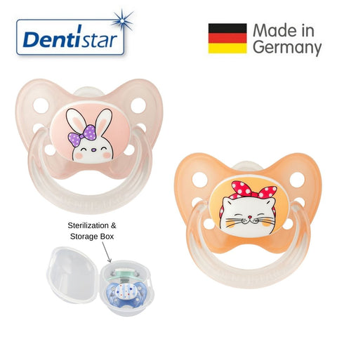 Dentistar Tooth-friendly Pacifier Size 1 (set of 2) with Sterilization Box - Bunny & Cat