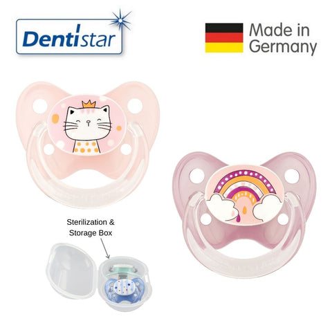 Dentistar Tooth-friendly Pacifier Size 2 (set of 2) with Sterilization Box - Cat & Rainbow