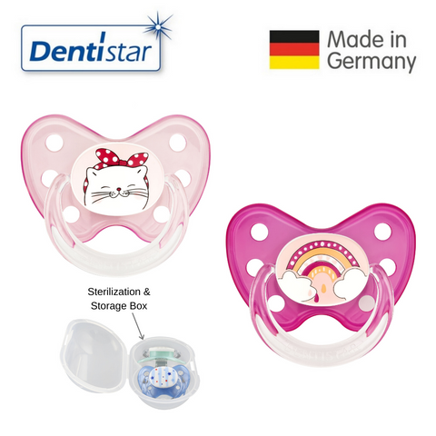 Dentistar Tooth-friendly Pacifier Size 3 (set of 2) with Sterilization Box - Cat and Rainbow