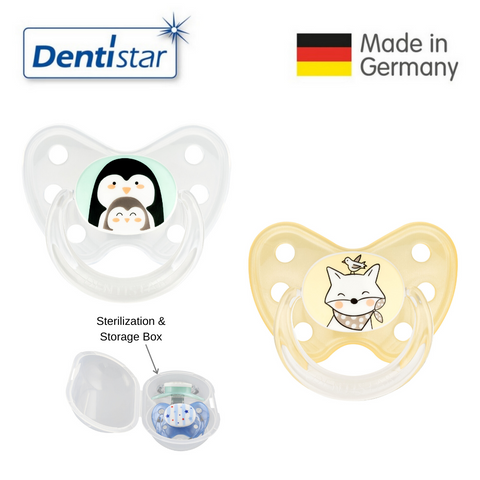 Dentistar Tooth-friendly Pacifier Size 3 (set of 2) with Sterilization Box - Penguin and Fox