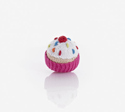 Pebble Cupcake Rattle - Hot Pink with White Icing and Cherry